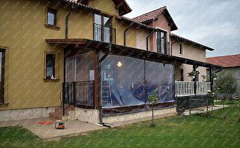 inchidere terasa cu PVC transparent si poliplan